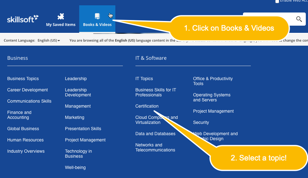 Screenshot depicting how to browse topics in Skillsoft Books.