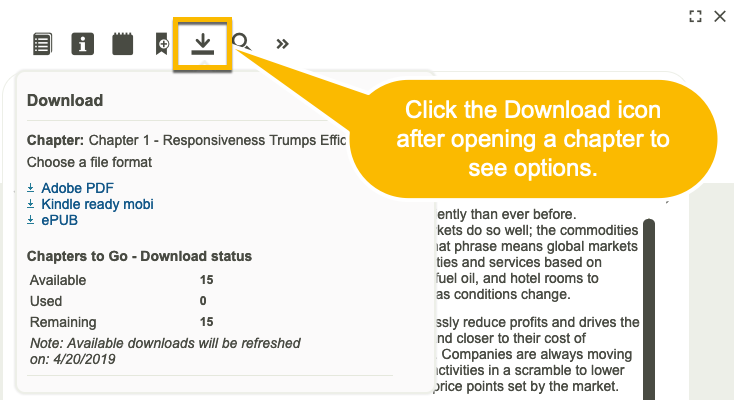 Screenshot depicting download option in Skillsoft Books.