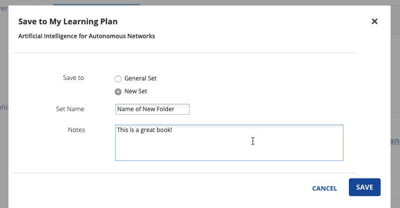 Screenshot depicting personal folder options in Skillsoft Books.