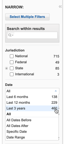 Westlaw Campus Research's date filter