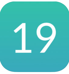"the number ""19"" on a green background"