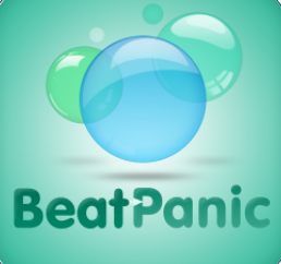 "the phrase ""beat panic"" on the bottom with different colored blue and green bubbles floating above"