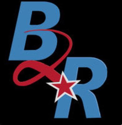 "the letters ""B"" and ""R"" with a red star with a tail swirling behind it"
