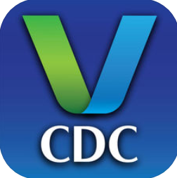 "letter ""V"" which is half green and half blue with ""CDC"" underneath"