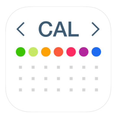 "the phrase ""cal"" with arrows on either side and 7 rainbow circles with three rows of gray dots below them"