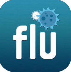 """flu"" in white with a blue virus cell above"