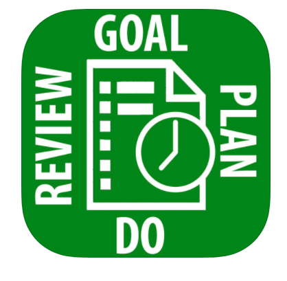 "the words ""goal, plan, do, review"" written around a piece of paper and clock"