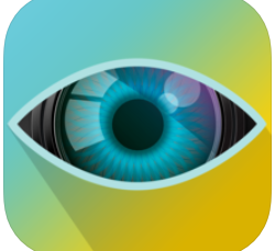 a blue to yellow gradient with the image of a blue and black eye