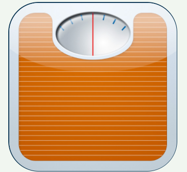 an orange scale to show weight
