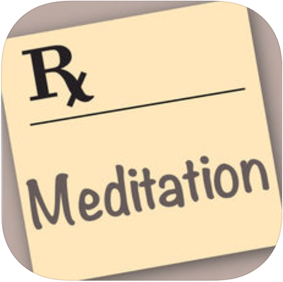 "a prescription with an ""Rx"" in the top left hand corner with the word ""meditation"" below"