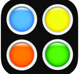 black background with 4 colorful squares in the following order (going clockwise): blue, yellow, green, and red