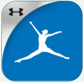 silhouette of a figure leaping with hands out on a blue background with a gray segment along the right side showing the under armour logo