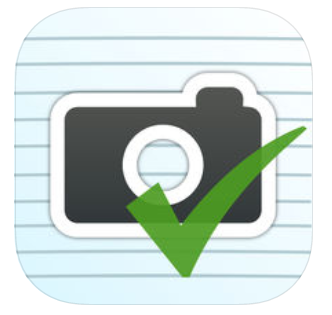 check mark in front of a camera in front of white lined paper
