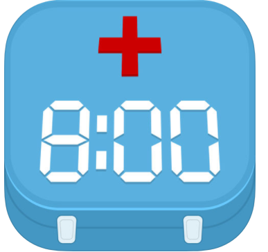 blue box with red cross and the time 8:00