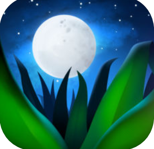 blades of grass and a full moon