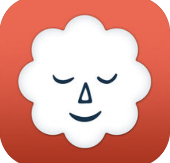 white cloud with a content smiley face on a red background