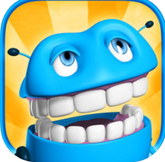 a blue creature with antennas and a big mouth showing all its teeth