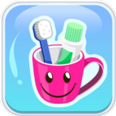 pink mug with a smiley face with a toothbrush inside