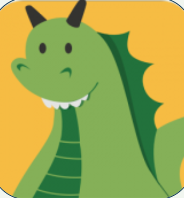 cartoon green dragon with horns
