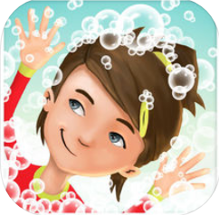 a person with brown hair and a red shirt surrounded by bubbles