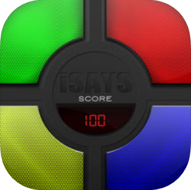 a black circle in the middle with a timer, surrounded by a green, red, blue, and yellow semi-circular buttons
