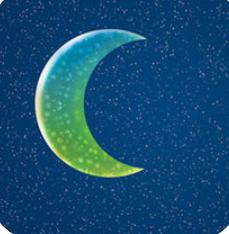 blue-green gradient moon against a dark background