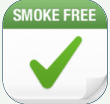 "square with a green label on top that says ""smoke free"" and a check mark below"