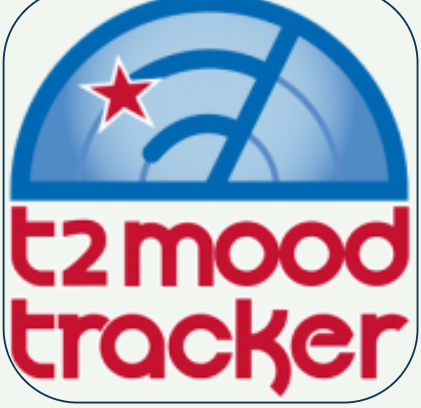 "the phrase ""t2 mood tracker"" and a blue gauge on top with the pointer to the right and a red star on the right side"