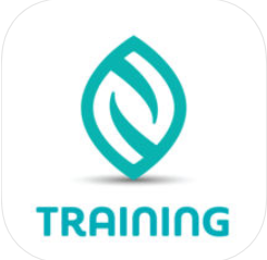 "A green leaf-shaped logo with the words ""training"" underneath"