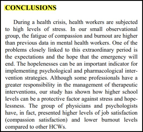 Picture of the conclusion of a research article that explains the researchers conclusions from their research study.