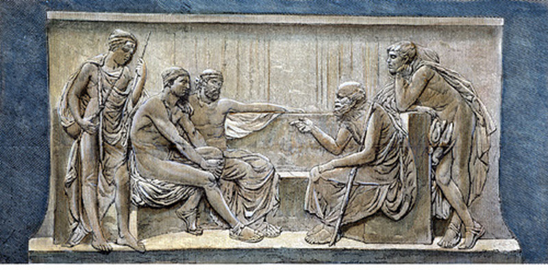 Socrates teaching the people in the Agora: engraving, 19th century, after a bas-relief