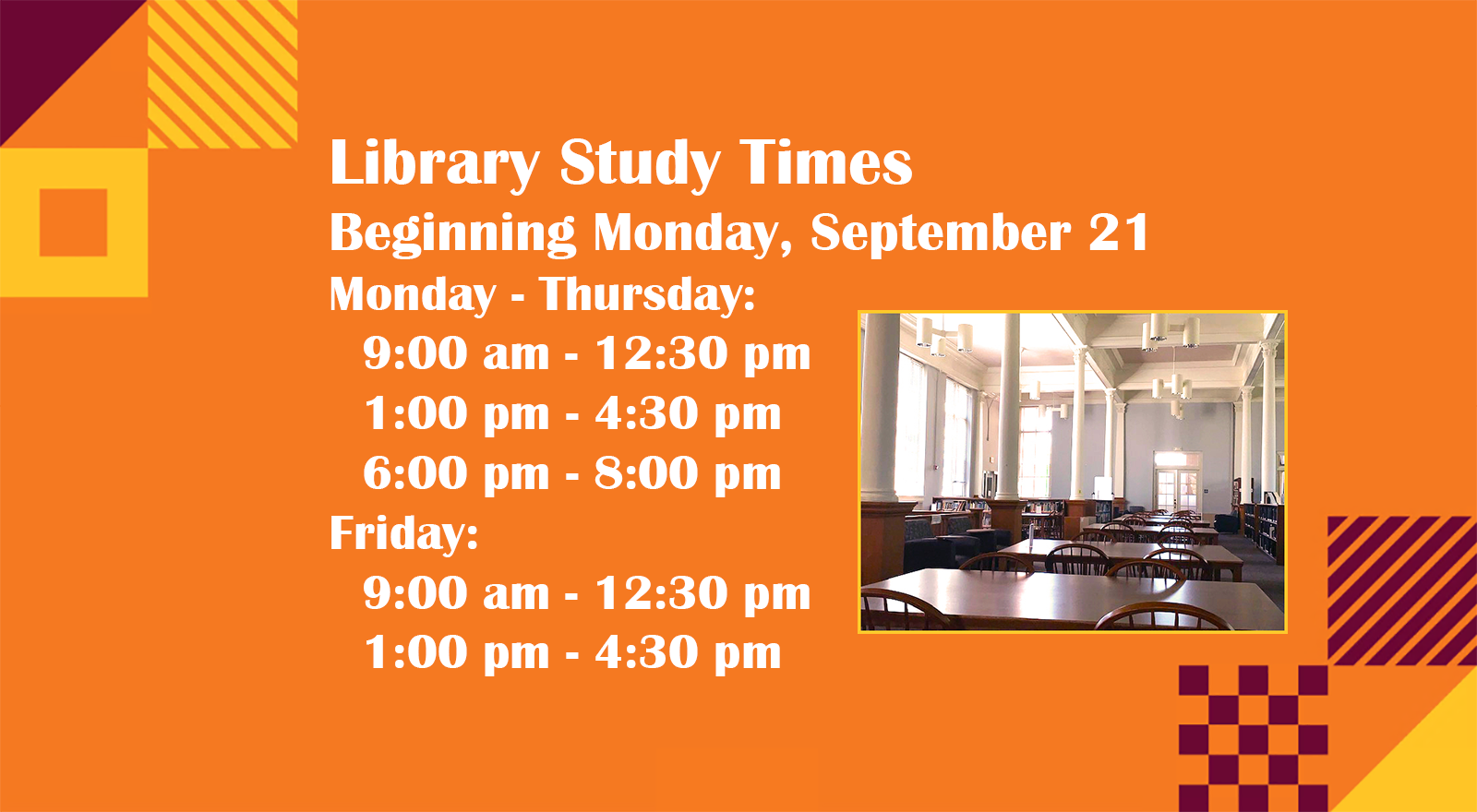 revised library study time for fall 2020