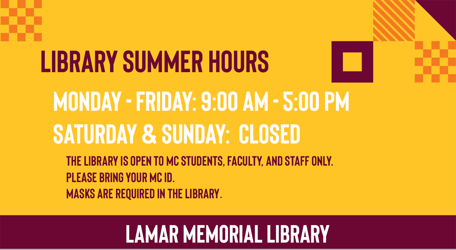 summer 2021 library hours