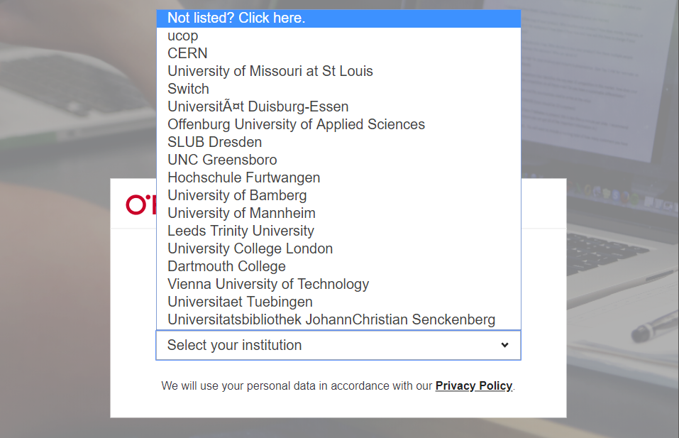 "Select ""Not listed? Click here"" from the top of the list on the O'Reilly welcome page"