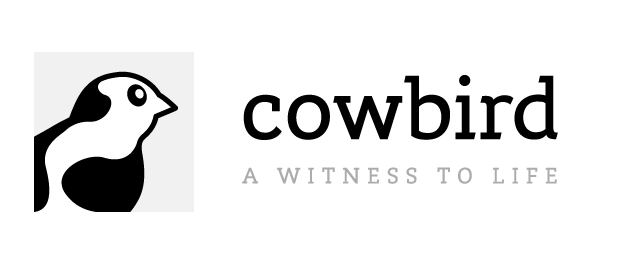 "Cowbird logo, ""a witness to life"""