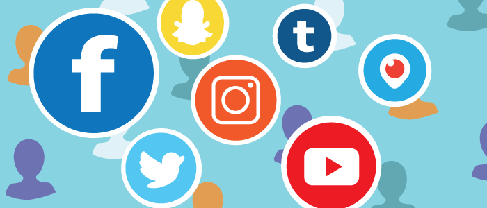 multicolored graphic with different social media icons