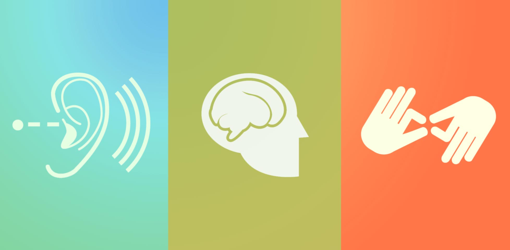 multicolored image with three panels: an ear with sound waves, a human head with a brain, and a pair of signing hands
