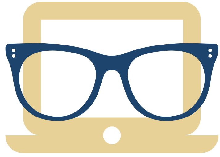 image of a computer wearing glasses