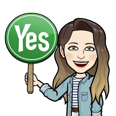 Bitmoji of Heather holding a sign that says yes