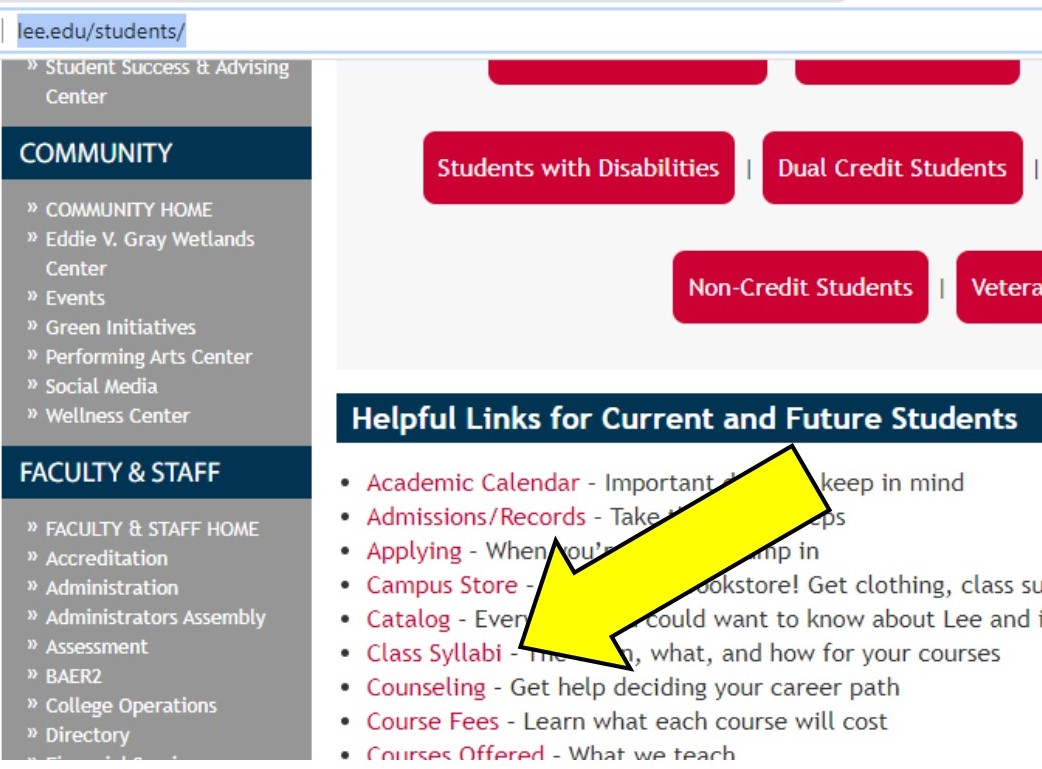 Screenshot of www.lee.edu/students
