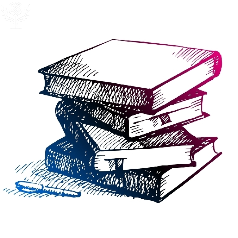 Image of a pile of textbooks