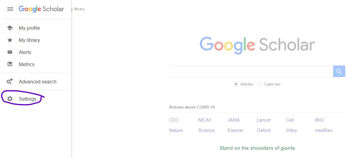 Settings button from Google Scholar landing page