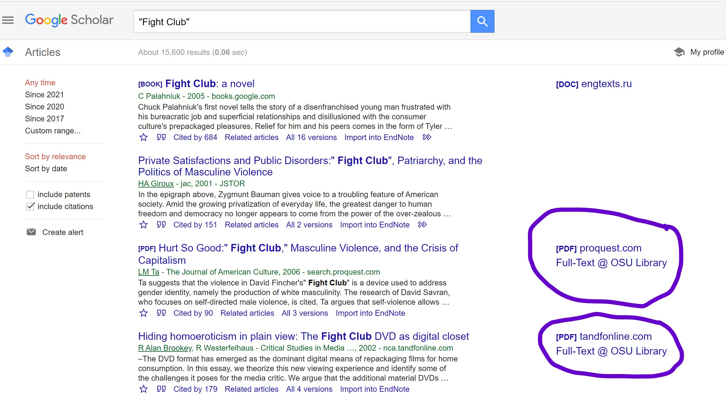 Search results for Fight Club, both the DVD and the book.
