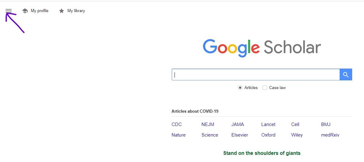 Google Scholar landing page