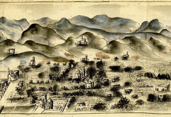 """Bird's eye view of unknown village in Mexico, ca. 1800s."" UAL Special Collections."