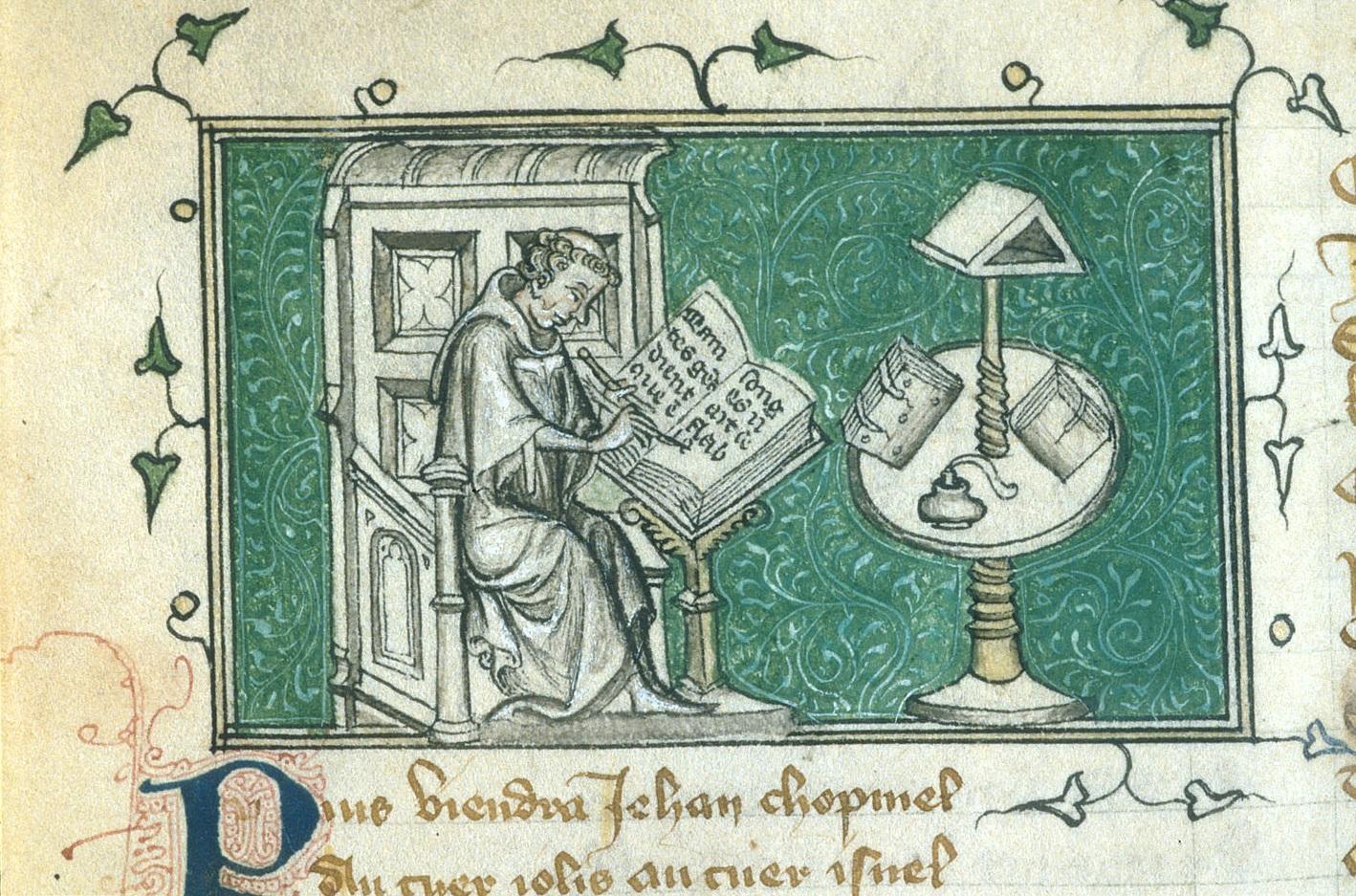 """""""Jean de Meun writing in his study."""""""