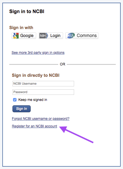 Screenshot of My NCBI login page.