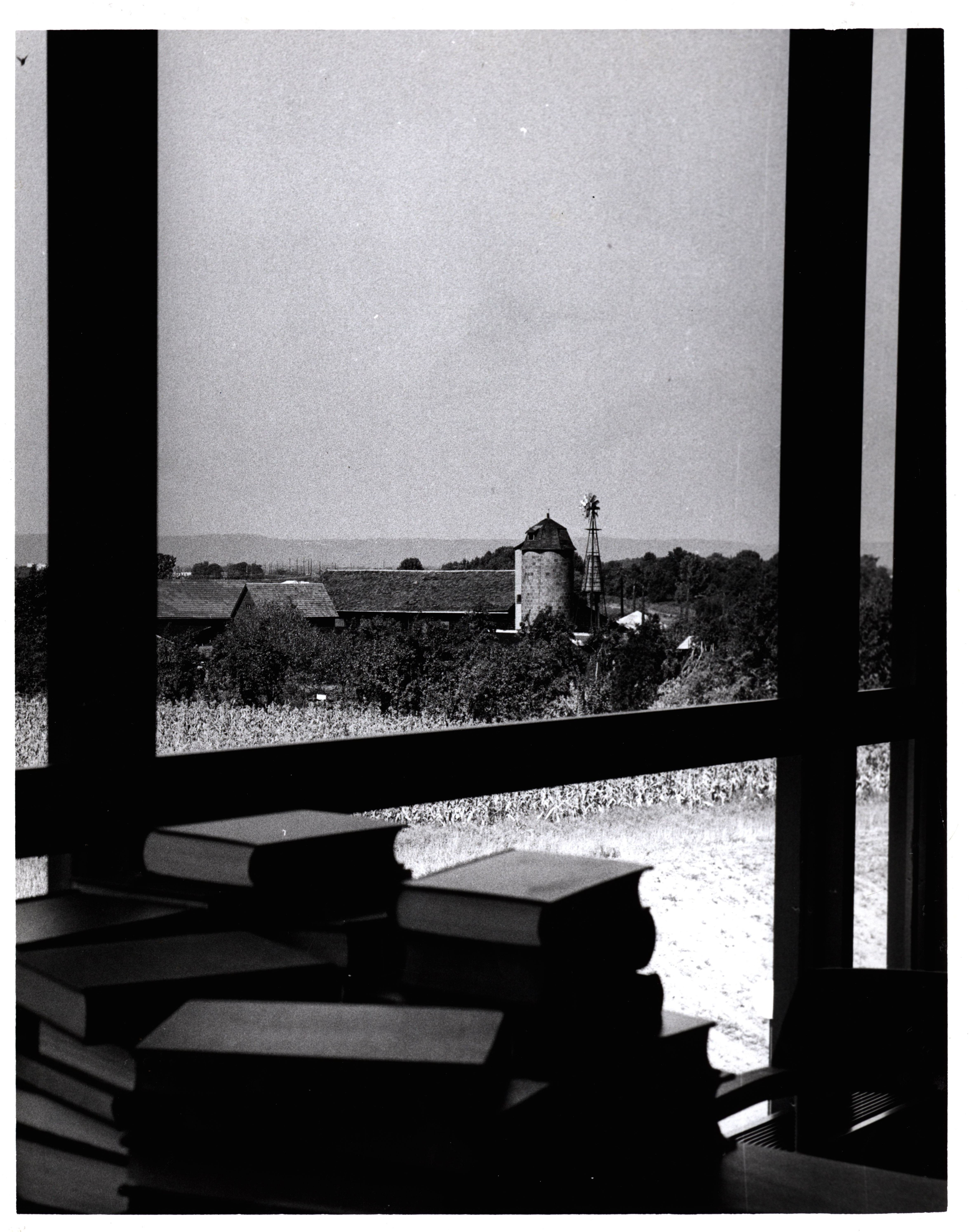 View from LSM window looking towards the farm, November 1970.