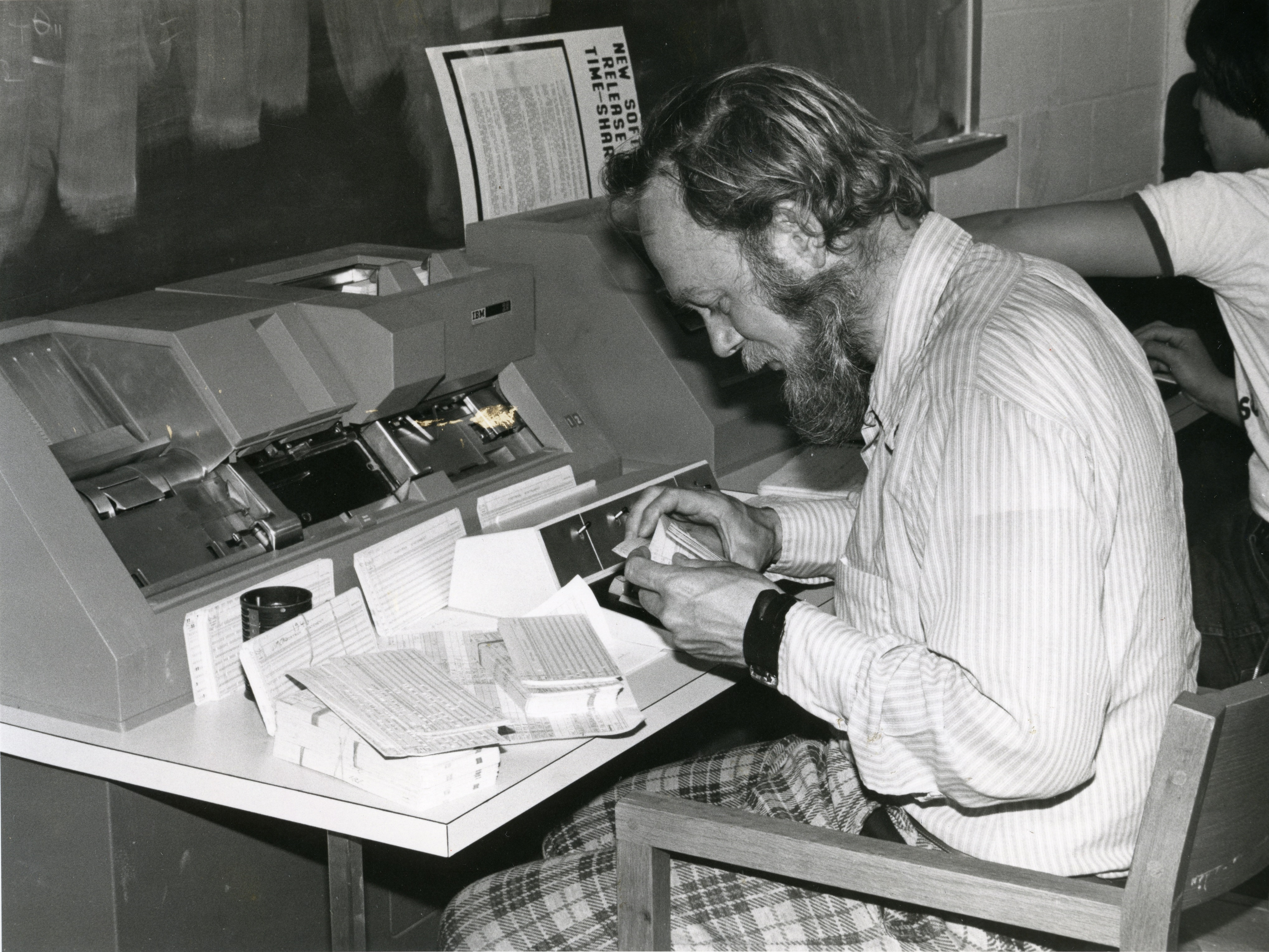 Student on a computer in Tillet Hall, 1975.