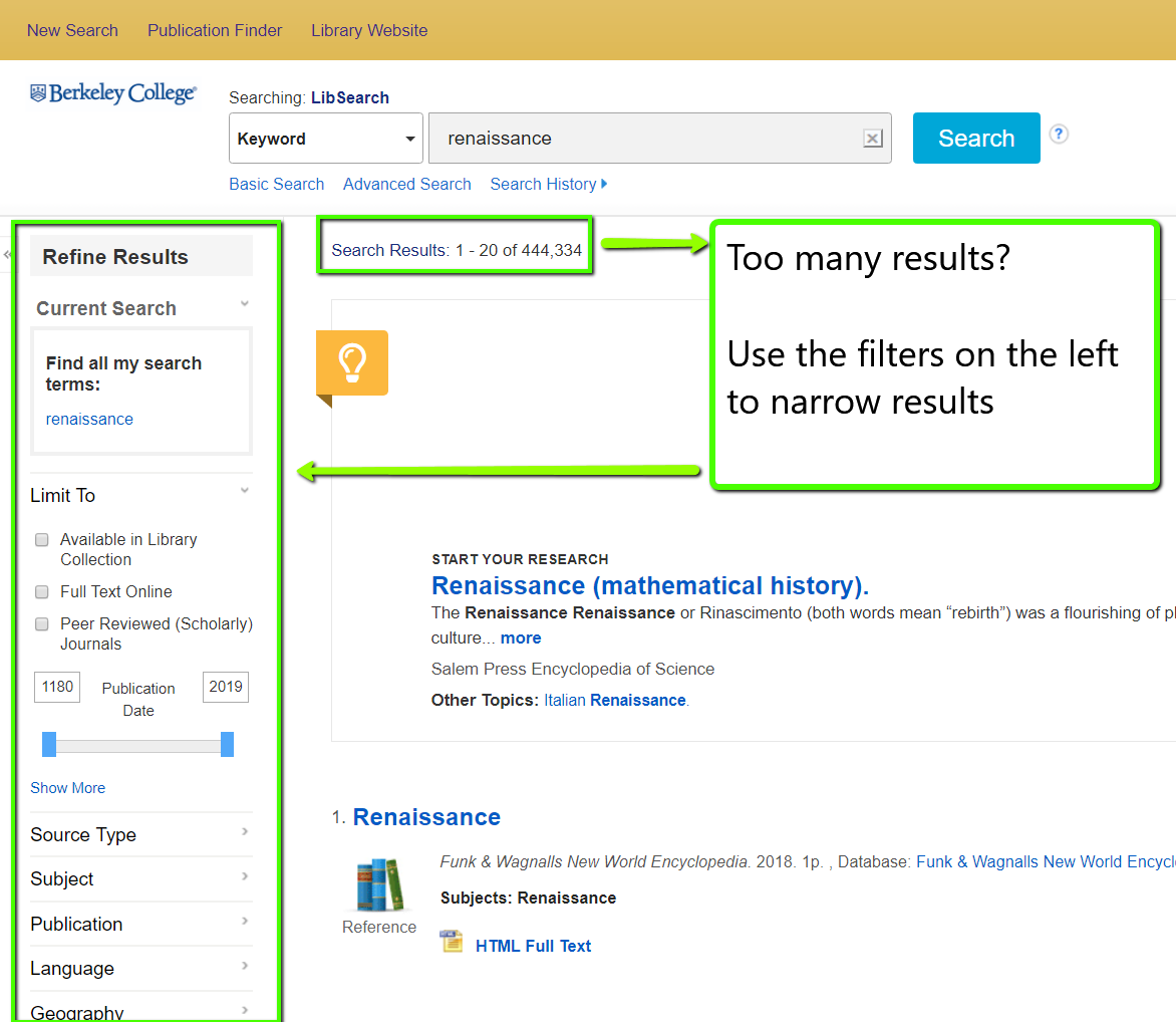 LibSearch screenshot showing filters